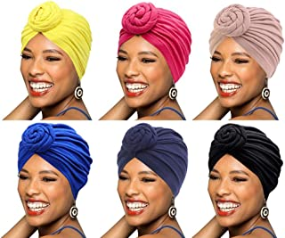 BABAHU 6 件装女式头巾非洲图案棉质打结豌豆预先扎好的帽子化妆帽*帽
