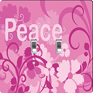 Rikki Knight Pink Peace Design Double Toggle Light Switch Plate