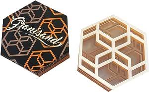 Granisand 现代几何 6 件套杯垫加礼品盒 White/Brown / Orange 並行輸入品