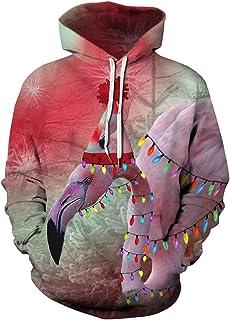 MOPOOGOSS 中性款逼真 3D 数码印花新奇长袖套头连帽运动衫连帽衫