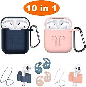 Airpods 手机壳,Airpods 配件套装,10 合 1 硅胶保护套皮肤苹果Airpods防丢失Airpods表带支架,Airpods耳钩 蓝色和粉色