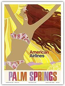 "Pacifica Island Art Palm Springs - 加利福尼亚女孩 - 美国航空公司 - 复古航空旅行海报 c.1960s - 艺术版画 9"" x 12"" PRTA4544"