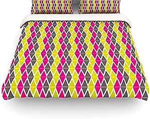 "Kess InHouse Nandita Singh""波西米亚""粉色黄色单人床棉被套 两个 NS2011ACD01"