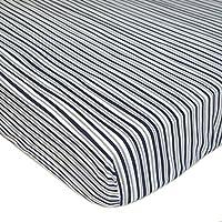 American Baby Company * 纯棉超值针织婴儿床床单,蓝色,2 件 Navy/Grey Funny Stripes 1包