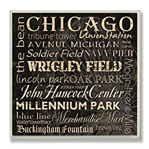 Stupell Home Typography Landmarks City Square Wall Plaque, Chicago