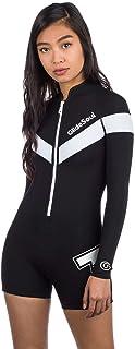 GlideSoul 女式 Flashback 74 系列 2mm 春季套装带前拉链,黑色/白色,中号