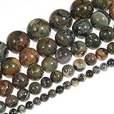 天然石珠宝石圆形散珠水晶能量石*力适用于珠宝制作 DIY,1 串 38.1cm Kambaba Jasper 8mm RLNS087S08
