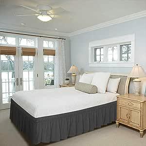 棉质公制亚麻布 800TC *店品质 * 埃及棉床罩床裙 40.64 厘米裙深中号双人床白色 纯色 深灰色 两个 GANESHJI114