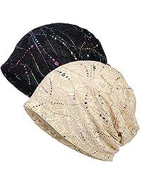 MaxNova 女士棉质无檐小便帽蕾丝头巾柔软*帽 Chemo 帽 时尚随性帽子