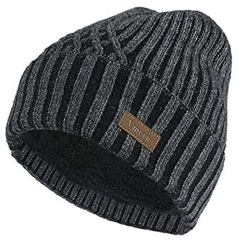 Vmevo 羊毛翻边无檐小便帽保暖冬季针织帽骷髅帽带内衬男女皆宜 深灰色 One_Size
