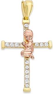 14k 纯正黄金和玫瑰金祈祷男孩十字架吊坠,镶嵌锆石,洗礼和洗礼礼品首饰