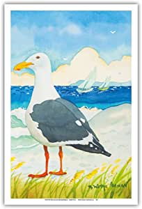 """太平洋岛屿艺术海鸥 - 海滨海滩海洋景观 - Robin Wethe Altman 原创水彩画 - 艺术版画 12"""" x 18"""" PRTBRA67"""