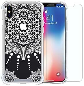 iPhone Xs 手机壳、iPhone X 手机壳、iPhone 10 手机壳、IiEXCEL 软弹性 TPU 手机壳和钢化玻璃屏幕保护膜适用于 iPhone X/iPhone 10 白色