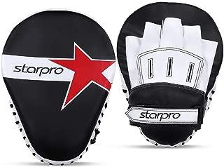 Starpro 拳击垫弯曲焦点手套 - MMA 拳击手套、钩和钳子靶手垫 | 泰拳、空手训练、武术、踢击| 合成皮革 | 加厚拳击垫