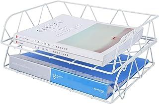 PAG 2 件套金属可叠放水平文件夹文件信件托盘办公桌收纳盒 白色