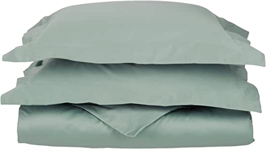 Impressions Genuine Egyptian Cotton 650 Thread Count, Full/Queen 3-Piece Duvet Cover Set, Single Ply, Solid, Teal