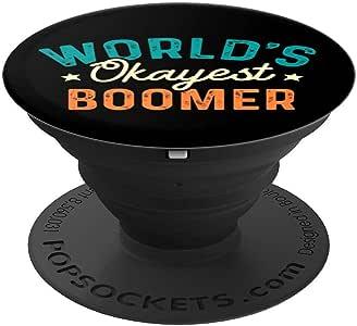 World's Okayest Boomer – 有趣的讽刺语 Boomer Meme PopSockets 手机和平板电脑握架260027  黑色