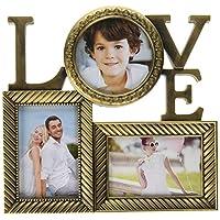 Adeco 3 个开口古董金爱家族拼贴图片相框 - 用于展示两个 4x6 的照片