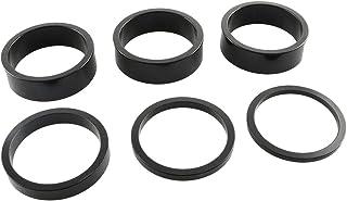 heyous 6 件套自行车耳机垫片 铝合金自行车耳机垫圈升高车把 2MM 3MM 5MM 10MM 适合 1 1/8 英寸杆适用于 MTB 自行车,黑色