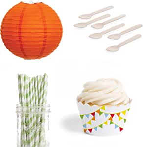 Dress My Cupcake DMC432499 Dessert Table Party Kit with Lanterns and Standard Wrappers, Circus Flag Pennants