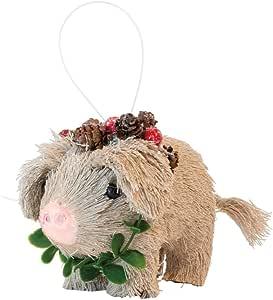 装饰性圣诞羊毛树装饰品 Porkchop Pig 3.25-Inches NAX19397