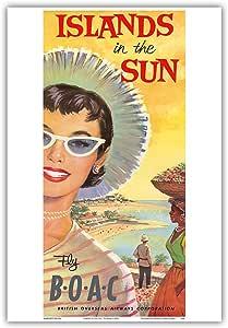 "Pacifica 岛艺术群岛太阳光 - 飞翔的博AC(英国海外航空公司) - 复古航空旅行海报 c.1950 年代 - 艺术版画 13"" x 19"" PRTC4268"