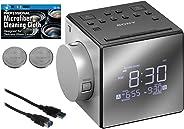 索尼 ICF-C1PJ 闹钟,带 AM/FM 收音机,时间投影,舒缓自然声音,可延展的贪睡,LED 显示屏,带可调节亮度,USB 端口和内置日历 + 额外电池 + 电缆