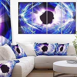 "Designart PT7694-40-20 稀土蓝光光光彩数字艺术油画印刷品,101.6 x 50.8 厘米 48x28"" - 4 Equal Panels PT7694-271"