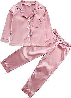 婴儿儿童男孩女孩2件套睡衣套装长袖纽扣上衣和裤子婴儿缎面睡衣秋冬衣服