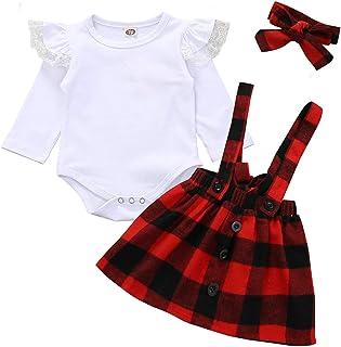 圣诞童装女婴连衣裙套装荷叶边袖紧身衣连衫裤 + 格子带裙连衣裙套装
