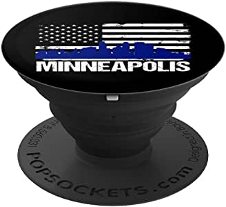 Minneapolis 城市天际线做旧美国国旗 PopSockets 手机和平板电脑握架260027  黑色