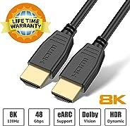 BIFALE HDMI 光纤电缆 4K HDR 60Hz,光纤 HDMI 电缆 2.0b ARC,HDCP2.2,3D,18Gbps Subsampling 4:4/4:2:2/4:2:0 纤薄灵活的光纤 HDMI 线,带双微型 HDMI47883