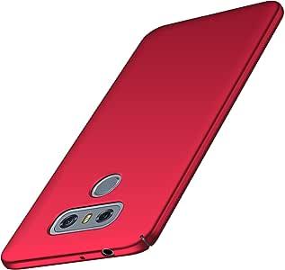 LG G6 手机壳,Arkour 极简主义超薄硬质塑料手机壳,光滑哑光表面手机壳 LG G6 红色
