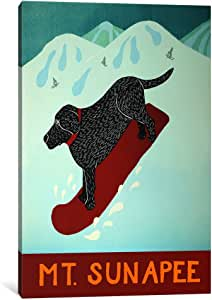 """iCanvasART Mt. Sunapee Snowboard Black Canvas Print by Stephen Huneck, 40 by 26""""/0.75"""" Deep"""