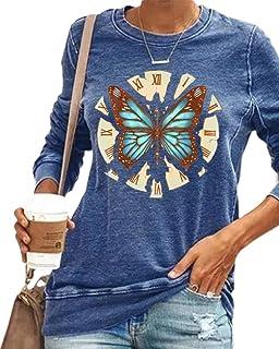 zeyubird 女式休闲钟表蜻蜓印花运动衫长袖圆领宽松套头女式上衣