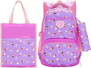 MITOWERMI 三合一套装女孩背包带午餐袋和铅笔盒儿童小学生背包笔记本电脑背包 02-purple