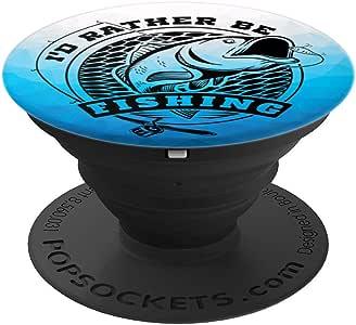 I'd Rather Be Fishing 渔夫趣味礼物 - PopSockets 手机和平板电脑抓握支架260027  黑色