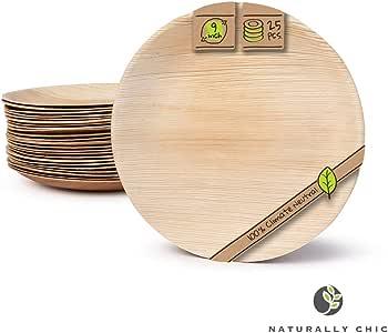 """自然时尚的一次性棕榈树叶板 - 25 只装 - 小餐具套装 - 环保、可生物降解、可堆肥 - 婚礼、派对、家居用品、活动的理想选择 棕色 9"""" Round"""