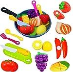 Cut Play 兒童食物廚房配件套裝 - 切割玩具水果和蔬菜 - 烹飪鍋 - 玩具刀具和砧板 - 玩用用具 - 幼兒,男孩和女孩假食物假裝玩具套裝
