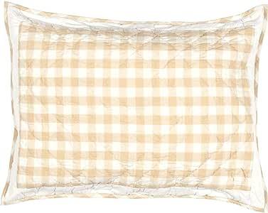 VHC Brands Annie Buffalo 方格纹枕套 棕褐色 标准 40420