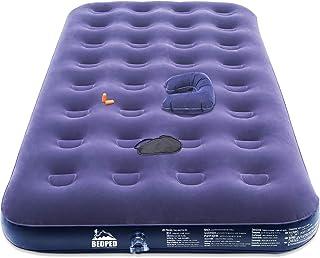 带电动泵的床上用品双野营气垫 - 耐用单充气气气床 - 便携式吹气床垫可作为眼罩、枕头、耳塞、穿刺和舒适植绒顶