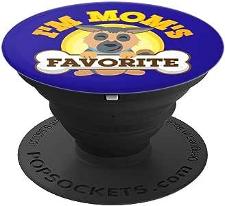 可爱的德国牧羊犬 I'm Mom's Favorite 设计 - PopSockets 手机和平板电脑握架260027  黑色