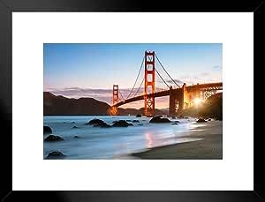 海报 Foundry Dawn at The Golden GateBridge 旧金山照片艺术打印 照片艺术印刷品 哑光框架海报 26x20 inches 242587