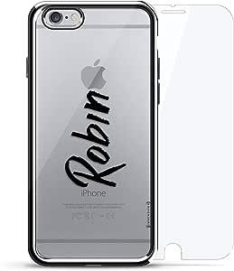 镀铬系列 360 套装:设计师手机壳 + 钢化玻璃 适用于 iPhone 6/6s PlusLUX-I6PLCRM360-NMROBIN1 NAME: ROBIN, HAND-WRITTEN STYLE 银色