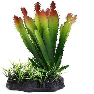 uxcell *塑料容器仙人掌植物装饰适用于爬行动物和两栖动物 Green,Type 1
