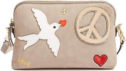 Tory Burch Crossbody Bag Suede Leather Peace Love