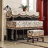 尚品屋 布艺钢琴罩钢琴罩三件套钢琴半罩琴凳套钢琴防尘罩 (钢琴罩+单人凳)