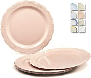 """ OCCASIONS"" 40 件装,重量级一次性婚礼派对塑料餐盘 Verona in Blush Pink Appetizer/Dessert Plate"