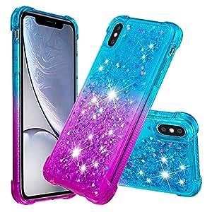StarCity iPhone Xs 手机壳,iPhone X 手机壳,闪耀闪耀[渐变速]柔软弹性 TPU 耐用防震手机壳,适用于 iPhone Xs/iPhone X Aqua/purple