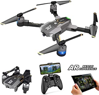 Atoyscasa FPV RC 无人机带 120° FOV 720P 高清 Wi-Fi 摄像机,可折叠 2.4GHz 6 轴陀螺四轴飞行器无人机 适合儿童和初学者 - 高度保持,一键起飞/着陆,3D 翻转,AR 游戏,APP 控制